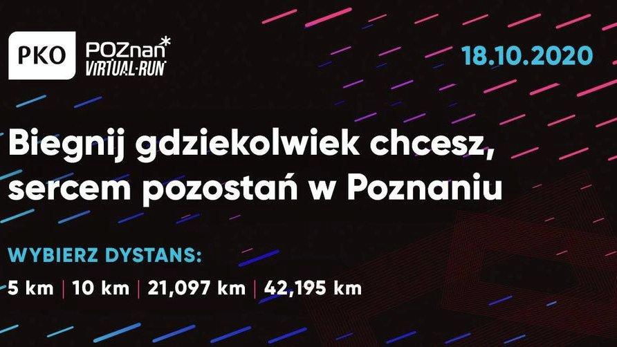 """Biały napis na plakacie: """"Biegnij gdziekolwiek chcesz, sercem pozostań w Poznaniu. Wybierz dystans: 5 km, 10 km, 21,097 km, 42,195 km"""". - grafika artykułu"""