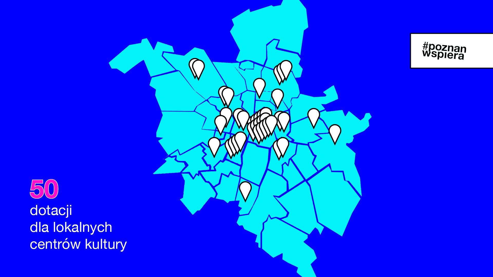 Grafika przedstawia mapę Poznania z zaznaczonymi punktami, w których działają lokalne centra kultury. - grafika artykułu