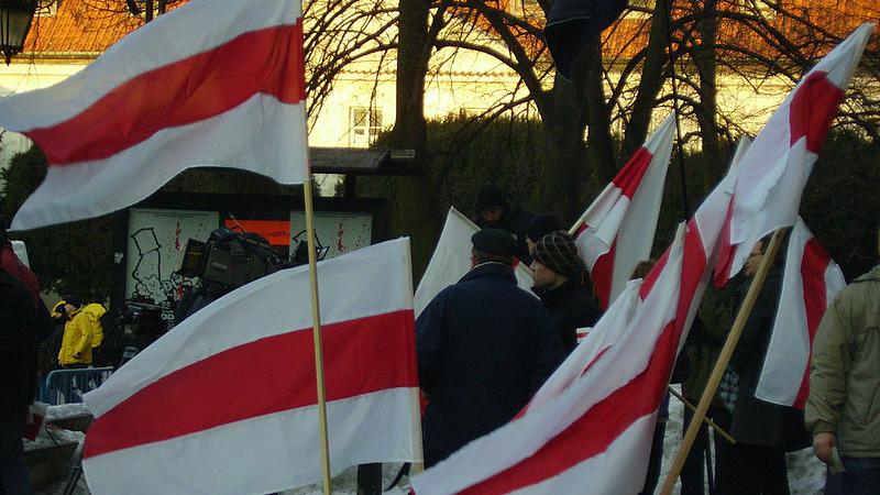 Grupa ludzi odwróconych tyłem, trzymają białoruskie flagi (biało-czerwono-białe); na pierwszym planie kolejne białoruskie flagi - grafika artykułu