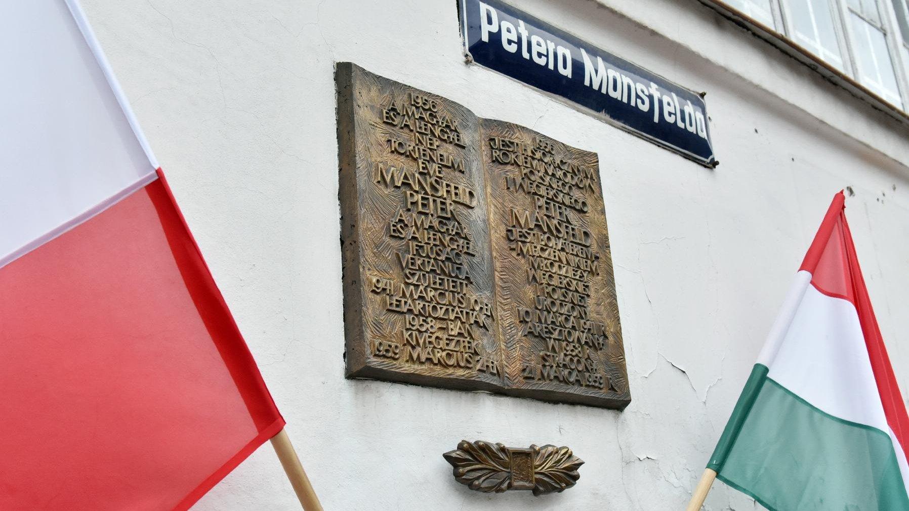Na zdjęciu widać tablicę poświęconą pamięci Petera Mansfelda. Po bokach kadru flagi Poslki i Węgier. - grafika artykułu