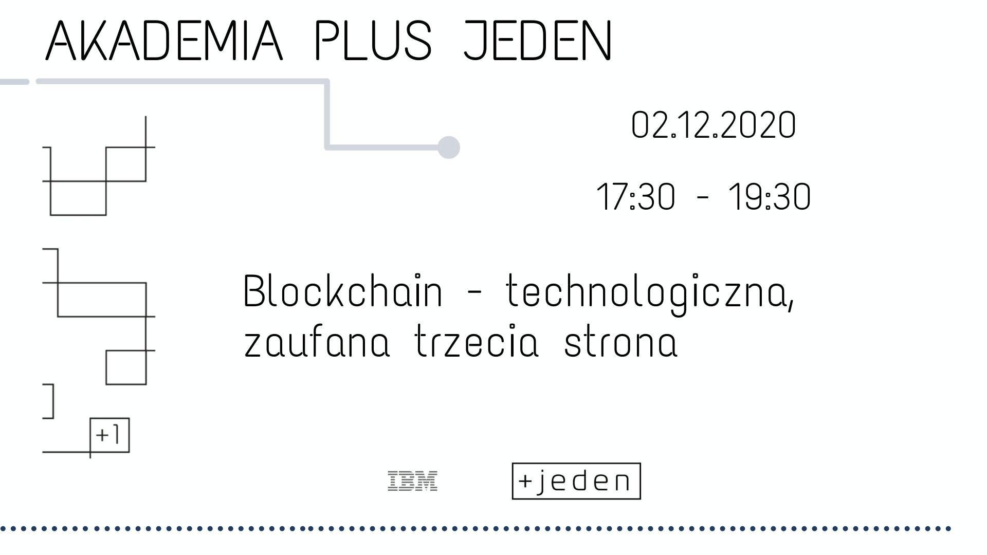 Plakat. Czarne napisy na białym tle: Akademia Plus Jeden. Blockchain - technologiczna, zaufana trzecia strona. - grafika artykułu