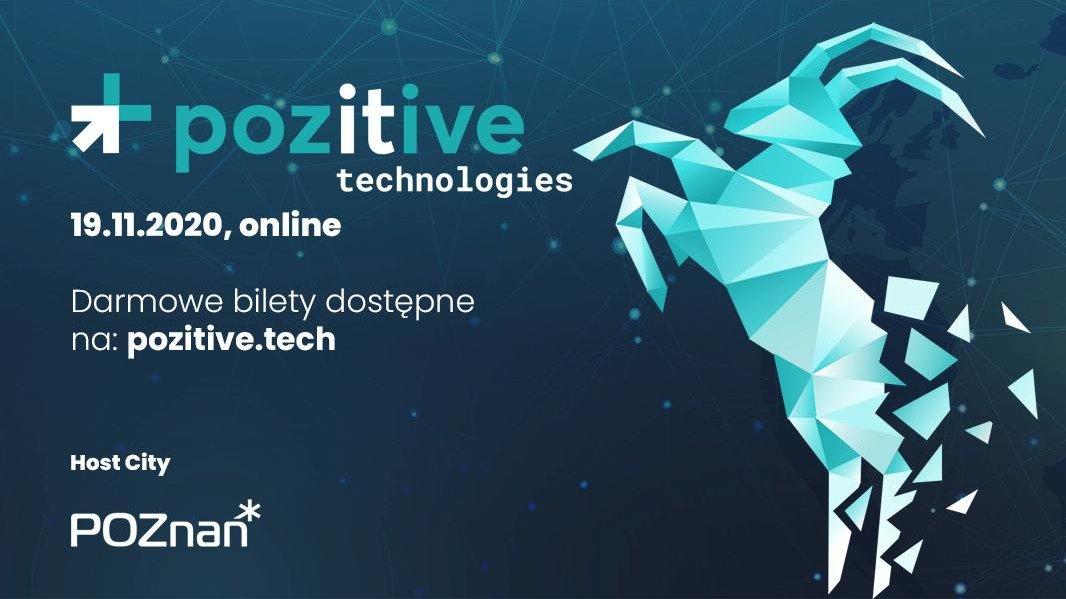 """Plakat: Zielony napis na niebieskim tle: """"Pozitive Technolgies. 19.11.20, online"""". - grafika artykułu"""