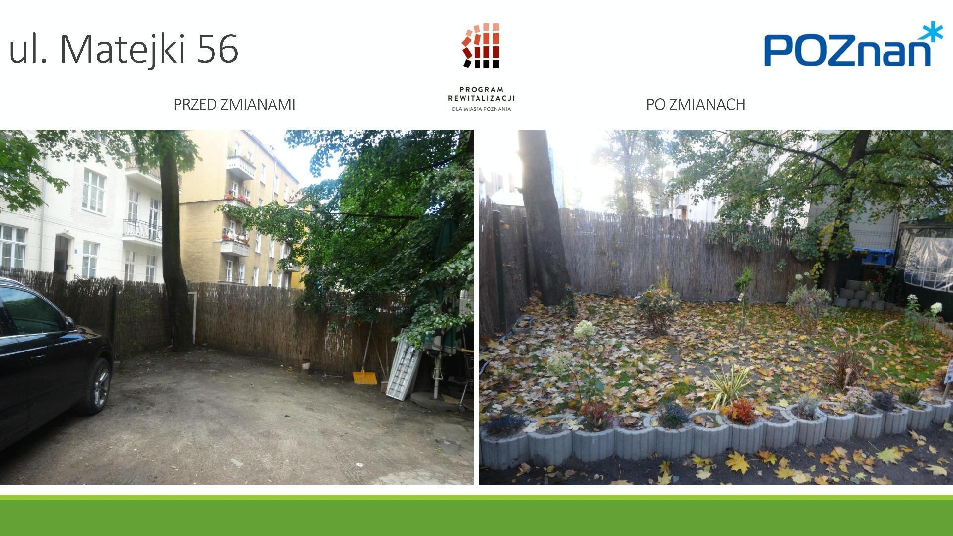 Po lewej stronie znajduje się zdjęcie podwórka przed zmianami - pusty teren, widać na nim jedynie zaparkowany samochód. Na drugim zdjęciu znajduje się uporządkowana zieleń. - grafika artykułu