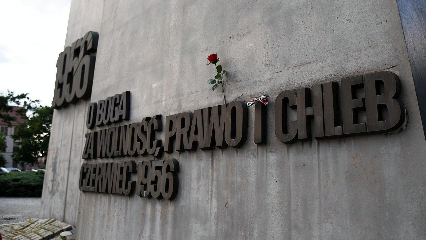 Zdjęcie pomnika Poznańskiego Czerwca. Na pierwszym planie litery na pomniku, w nie wetknięta pojedyncza czerwona róża - grafika artykułu