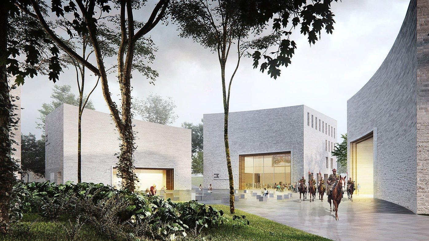 Zdjęcie prezetuję przyszłe Muzeum Powstania Wielkopolskiego. Na pierwszym planie zieleń, na drugim budynki muzeum. - grafika artykułu