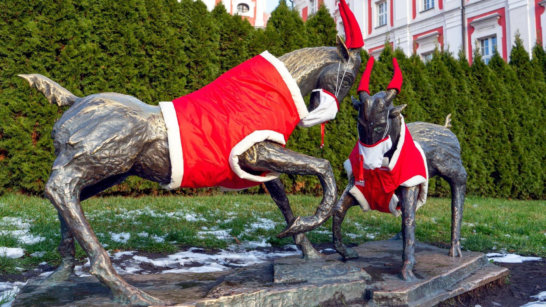 Zdjęcie przedstawia rzeźbę koziołków w świątecznych mikołajkowych strojach i maseczkach. - grafika artykułu