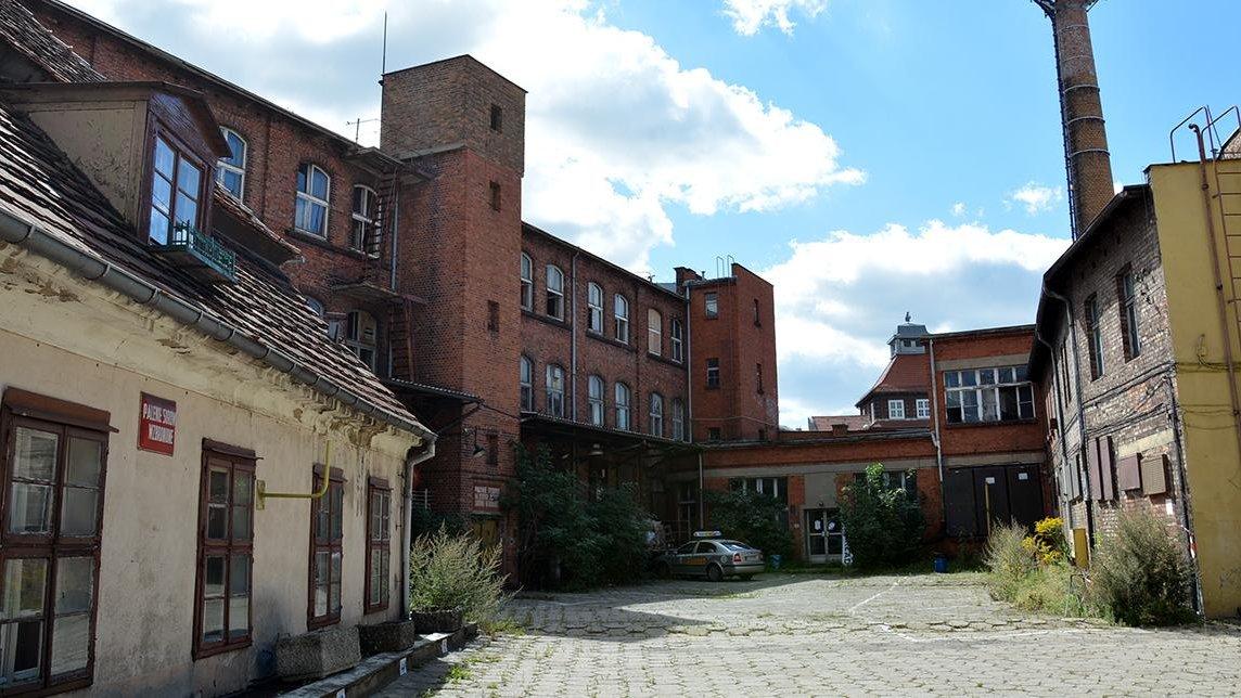 Zdjęcie przedstawia tereny Starej Papierni: po lewej stronie niski tynkowany budynek, w centrum budowle z cegły - grafika artykułu