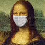 Na grafice Mona Lisa w maseczce.